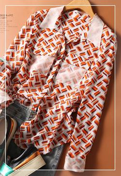 (수입) 오렌지 실크패턴 셔츠