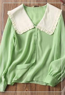 (수입) 순수실크 메론 셔츠