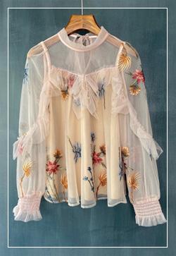 (수입) 앨리스메쉬 꽃자수 셔츠