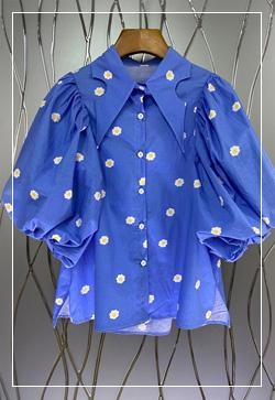 (수입) 데이지 퍼프카라 셔츠
