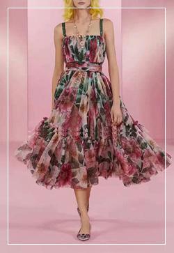 (수입) 웨이스트 꽃붉은 원피스