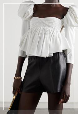 (수입) 꽃지퍼 퍼프 블라우스 셔츠