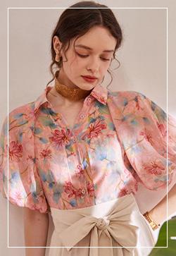 (수입) 컨트리 꽃핑크 셔츠