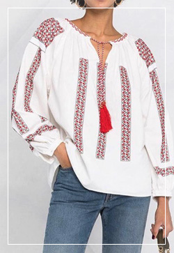 (수입) 랜턴 레드자수 블라우스 셔츠