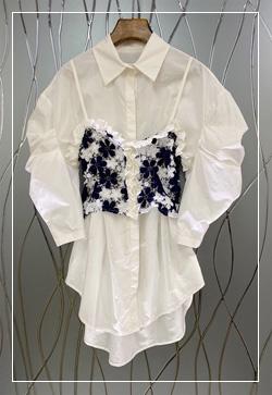 (수입) 데니스 꽃 뷔스티에 셔츠