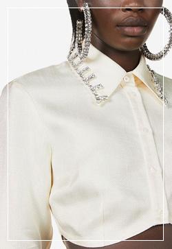 (수입) 숏 크리스탈 카라 셔츠