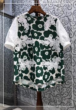 (수입) 프로랄 레이스플랜 셔츠