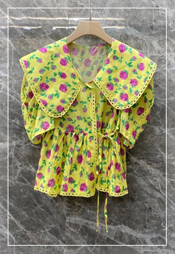 (수입) 와이즈 꽃 옐로우 셔츠