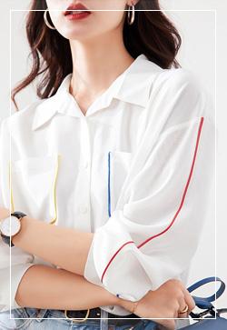 (수입) 메이키 컬러라인 셔츠