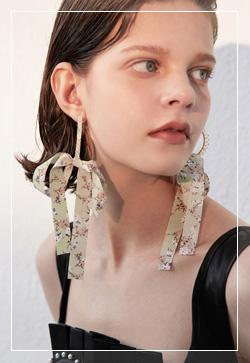 (수입) 롤플라워 페브릭 귀걸이