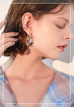 (수입) 포인츠 투명 링 귀걸이