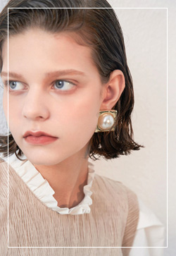 (수입) 스퀘어진주 심플 귀걸이