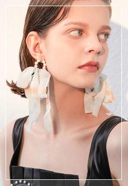 (수입) 클라우드 솜사탕리본 귀걸이
