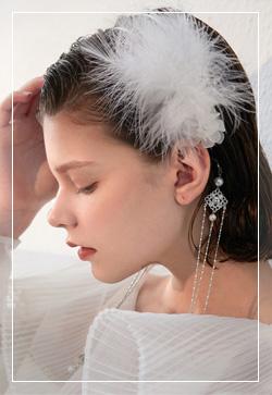 (수입) 심플깃털 웨딩 머리띠