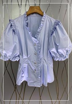 (수입)(즉시발송) 안젤리나 퍼프프릴 셔츠