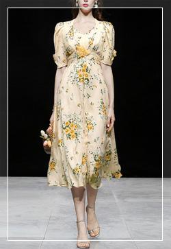 (수입) 꽃 프랑스 옐로우 원피스