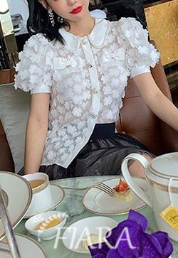 (수입) 커핑플라워 화이트 셔츠