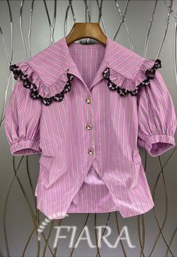 (수입) 핑크로 스트라이프 셔츠