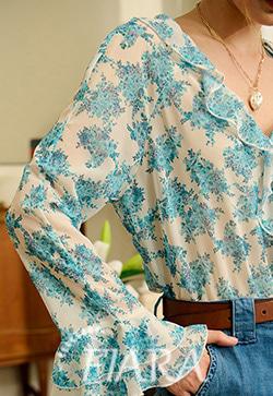 (수입) 블루밍 프로랄 프릴셔츠
