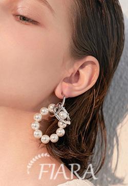 (수입) 진주실버 링 포인트 귀걸이