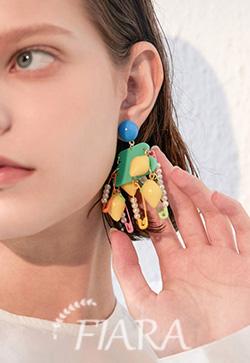 (수입) 컬러포인트 옷핀 귀걸이