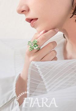 (수입) 멜로 아크릴 그린 반지
