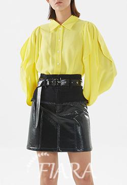 (수입) 라임옐로 슬릿 셔츠
