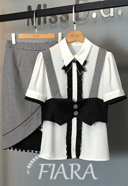 (수입) 에이스체크 셔츠&스커트 투피스 세트