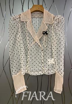 (수입) 시스루 도트로딩 셔츠