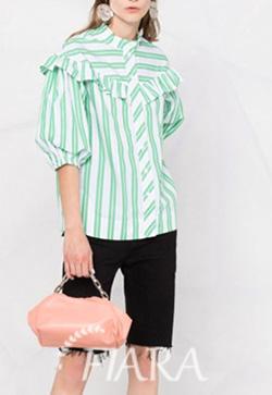 (수입) 라일락 스트라입그린 셔츠