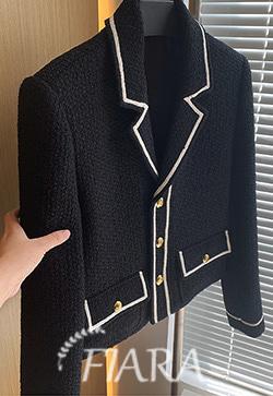 (수입) 콘트라 블랙 트위드 자켓