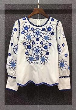 (수입) 블루꽃 자수포인트 셔츠