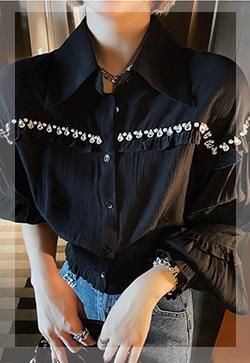 (수입) 다이아 프렌치블랙 셔츠