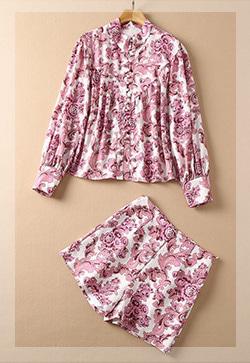 (수입) 오즈핑크 패턴 셔츠&팬츠 투피스 세트