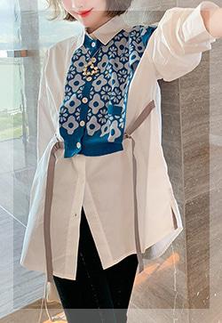(수입) 마리스 꽃블루 셔츠
