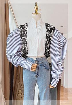(수입) 오브제 스트라이프 셔츠