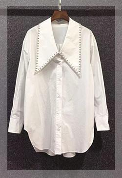 (수입) 스텔라 큐빅 큰카라 셔츠