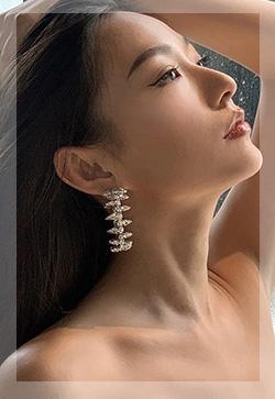 (수입) 링스실버 큐빅 귀걸이