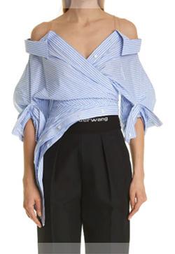 (수입) 사선 오프숄더 수잔 셔츠