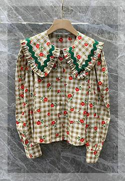 (수입) 앨리스 체크플라워 셔츠