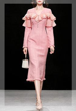 (수입) 피쉬테일 핑크 원피스