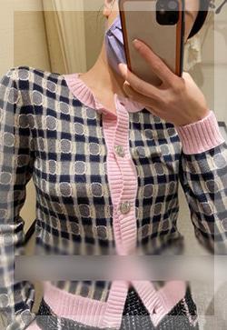 (수입) 로얄 핑크라인 니트 가디건
