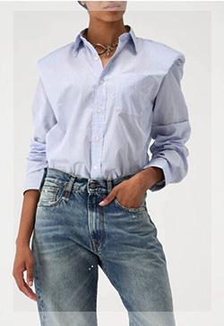 (수입) 애니숄더 스트라이프 셔츠