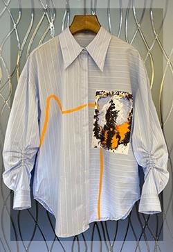 에이스블루 포켓 셔츠