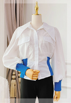 (수입) 블루 시보리포켓 셔츠