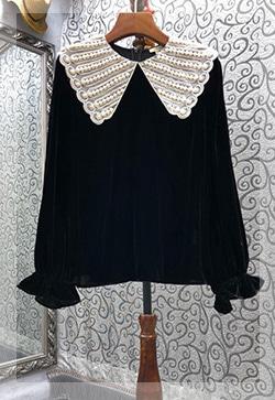 (수입) 모먼트 네크벨벳 블라우스 셔츠