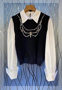 (수입) 체리쉬 보석 레이어드 셔츠