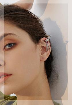 (수입) 실버베이스 클립 이어커프 귀걸이